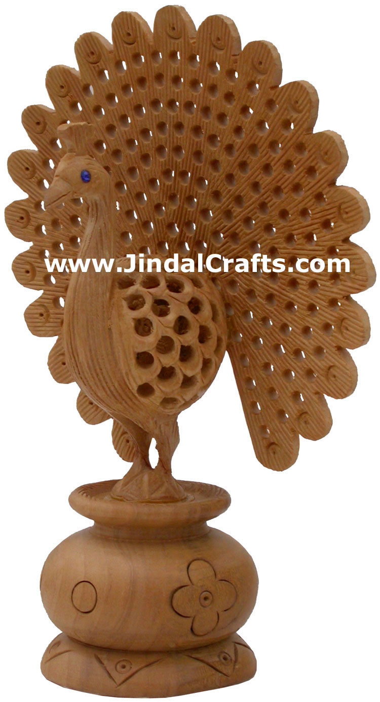 Wooden Peacock - Hand Carved Indian Carving Art