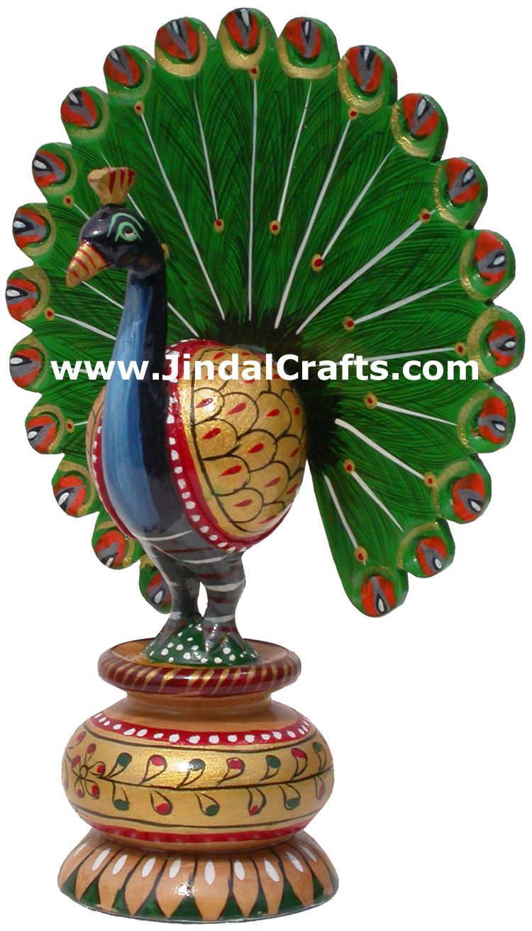 Peacock - Hand Carved Hand Painted Wooden Bird Figure ...