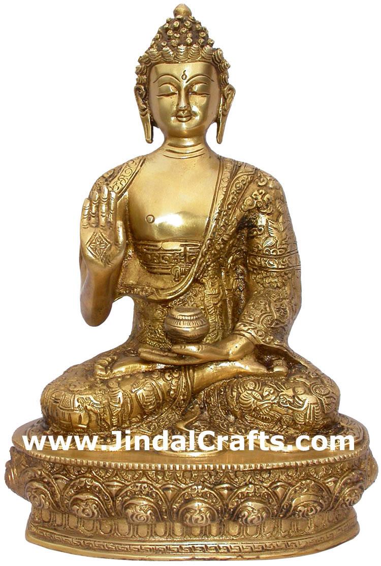 Brass buddhist sculpture india carving art