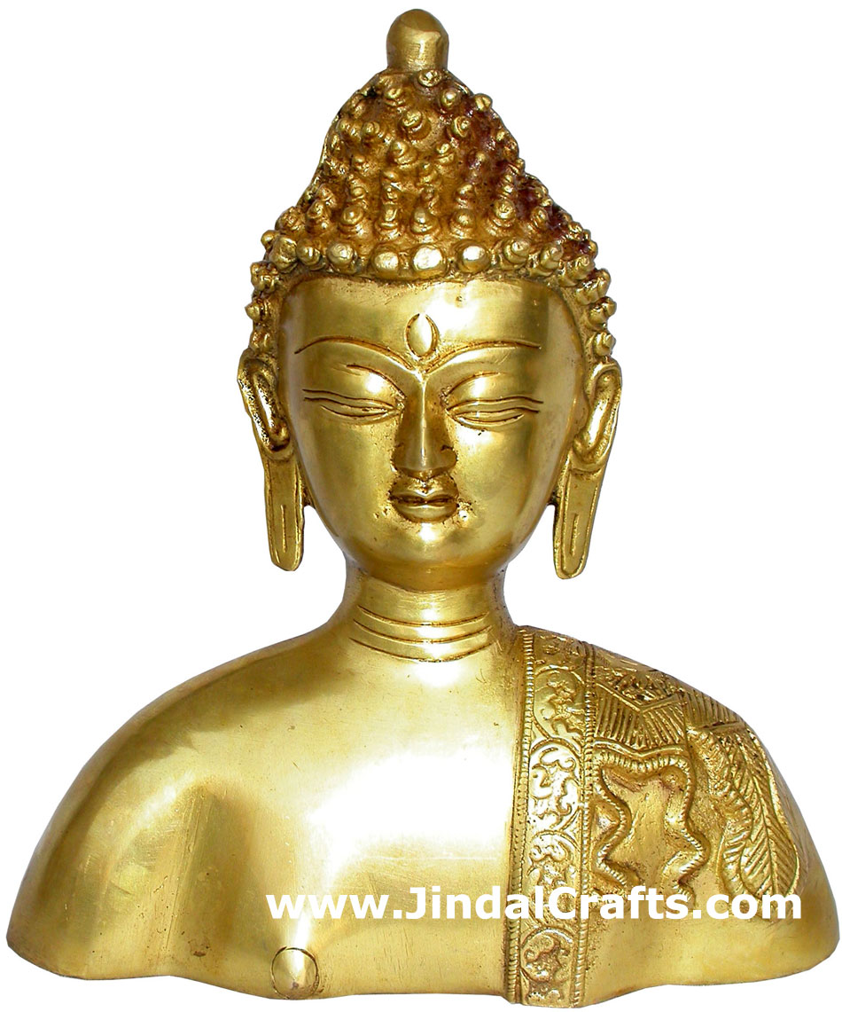 Buddha Bust Hand Carved Indian Art Craft Handicraft Home Decor Brass Figurine