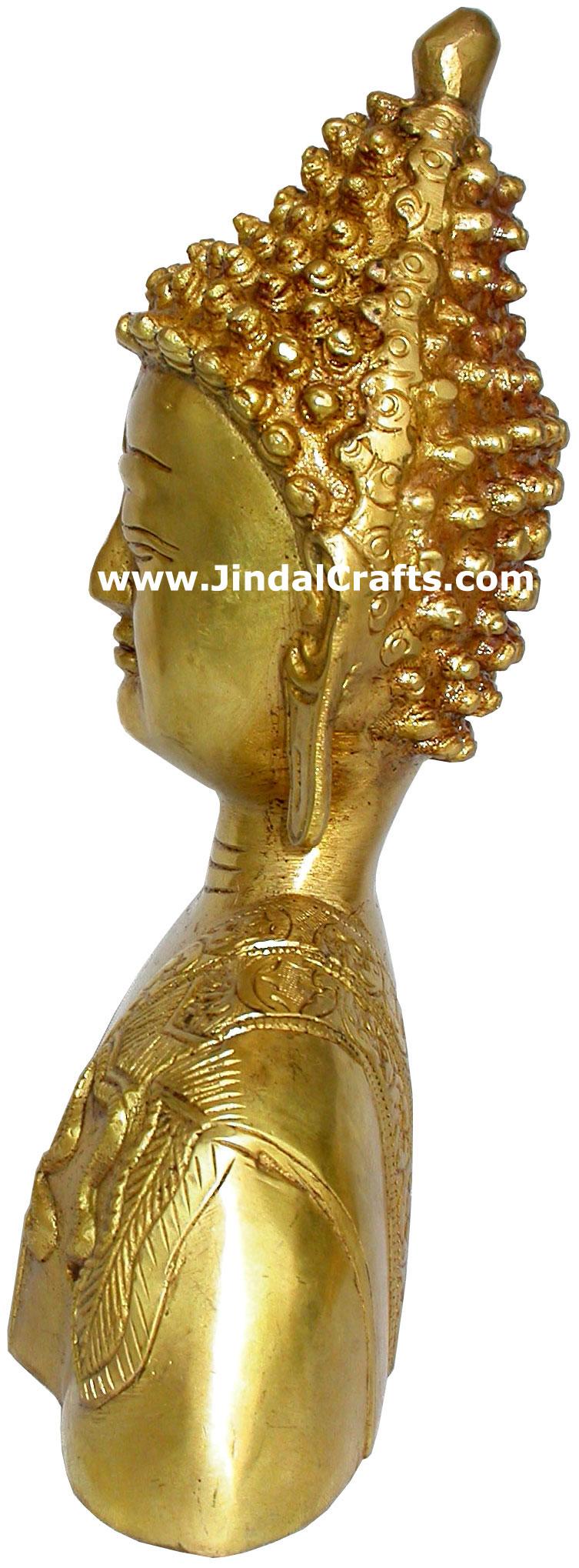 Buddha Bust Hand Carved Indian Art Craft Handicraft Home Decor Brass Figurine