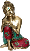 Buddha in peace - Brass Made Hand Decorated Sculpture Indian Buddhism Figurine