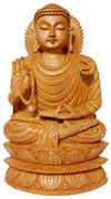 Wood Handmade Gautam Buddha Figurine India Carving Art