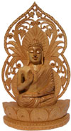 Handmade Wooden Carved Buddha Statue Indian Carving Art