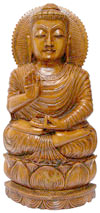 Wood Sculpture Glowing Antique Look Buddha Figure India