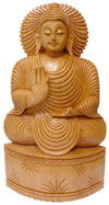 Wood Sculpture Hand Carved Blessings Buddha Statue Indian Handicraft Idol Crafts