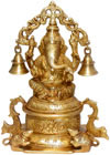 Lord Ganesh Bell Brass Handmade Indian God Religious