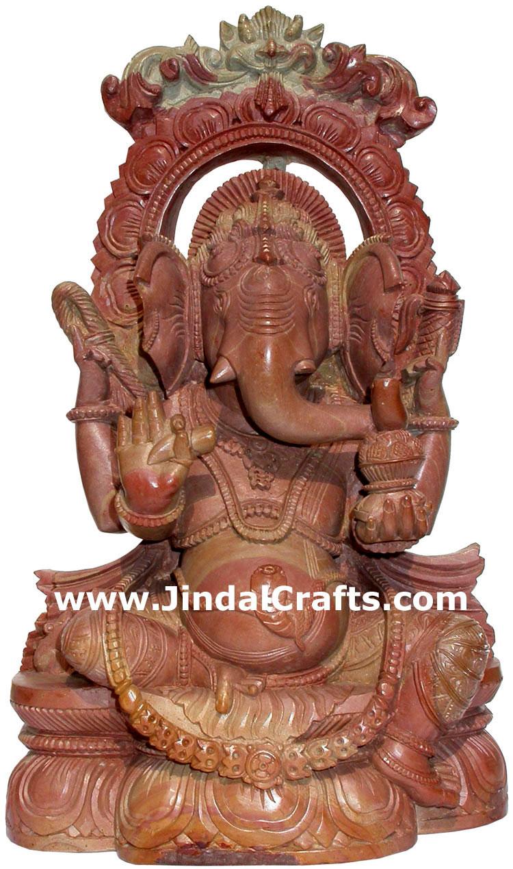 Lord ganesha ganpati vinayaka hand carved stone figure