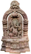 Lord Ganesha Statue- Hand Carved Pink Stone Made Religious Figure Hindu Ganpati