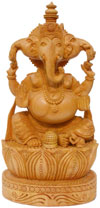Wood Sculpture Handcarved Three Faced Ganesha Statuette