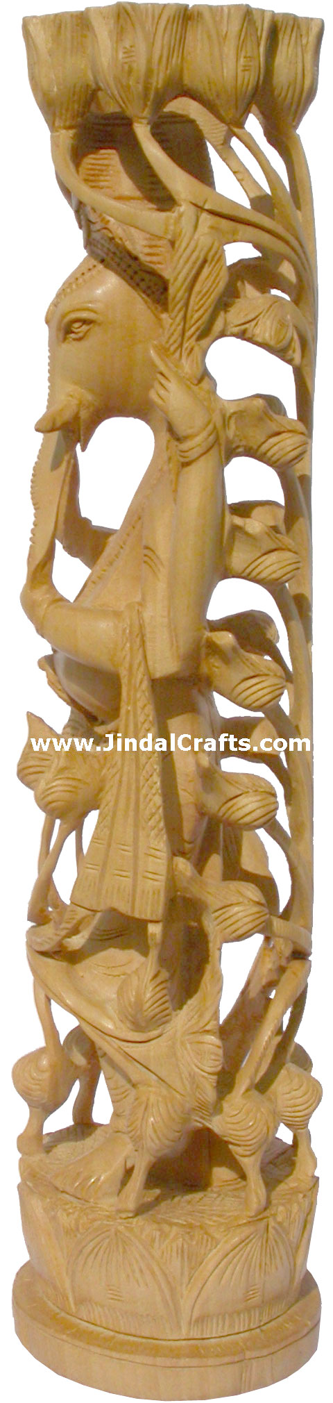 Wood Sculpture Lord Ganesha Figureine Hand Work India