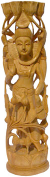 Hand Carved Wood Lord Shiva Figure Statue Idol Sculpture Indian Traditional Arts