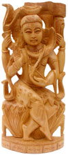 Handcrafted Wooden God Shiva Hindu Sculptures Art