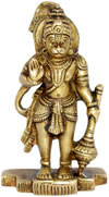 Lord Hanuman Indian God Brass Sculpture Hand Crafted