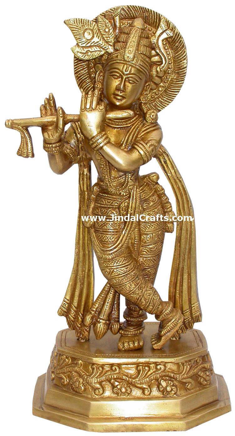 krishna hindu god brass sculpture figurine art indian handicraft