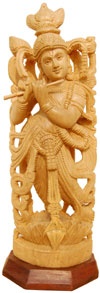 Handcrafted Wooden Lord Krishna Hindu Sculpture Art