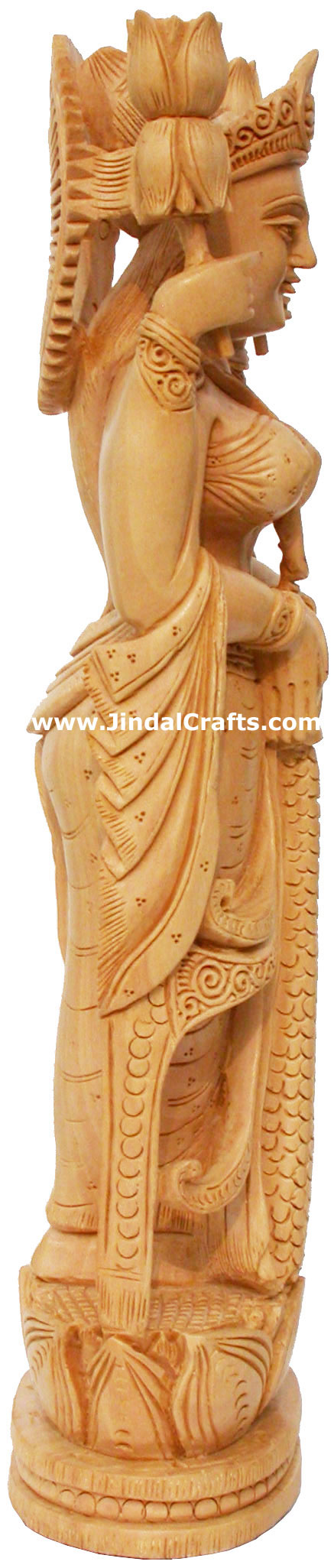 Hindu deities goddess lakshmi india wood carving arts