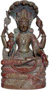 Hand Carved Stone Lord Narayan Figure Indian Art