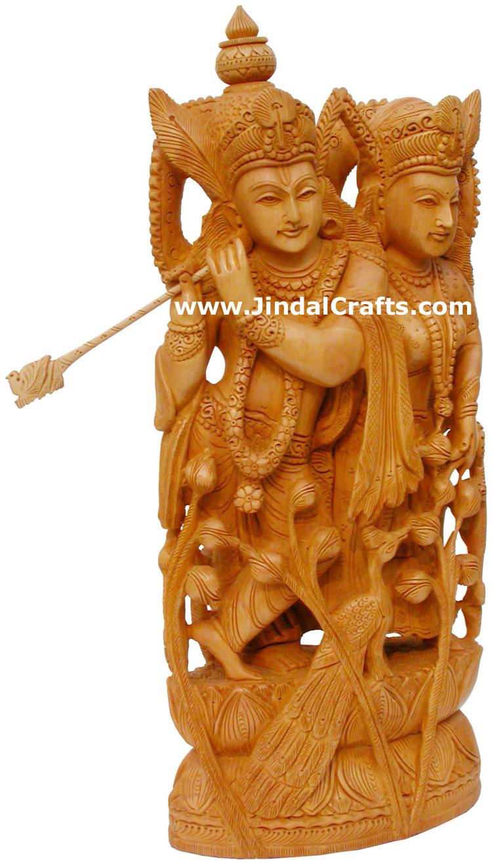 Radha Krishna Indian Deities Wood Carving Hand Carved