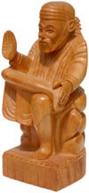 Sant Sai Baba - Hand Carved Wooden Staute Indian Crafts