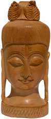 Hand Carved Wooden God Shiva Head Figure Indian Art