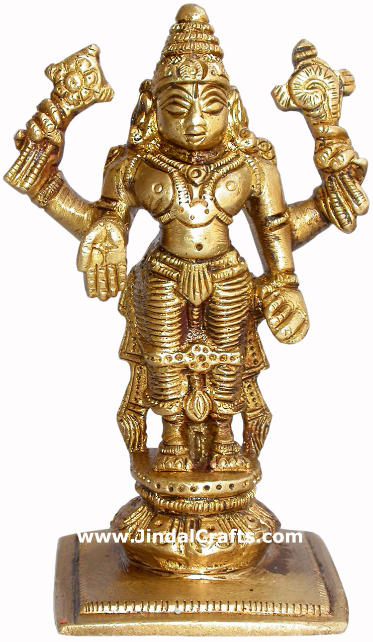 Vishnu Hand Carved Indian Art Craft Handicraft Home Decor Brass Figurine