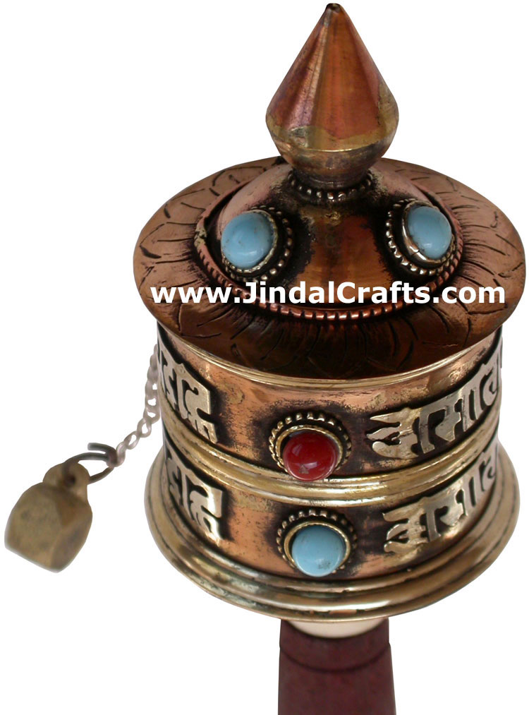 Tibetan Copper Mani Mantra Prayer Wheel Buddha