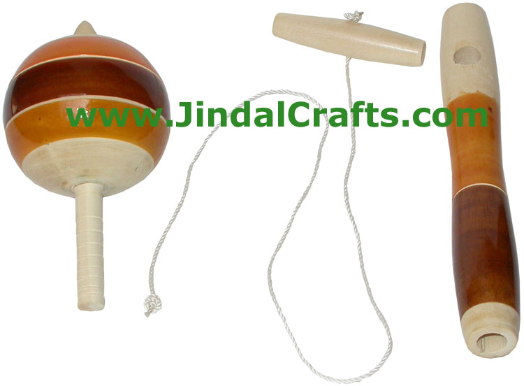 Stick Spinning Top - Handmade Wooden Toy from India