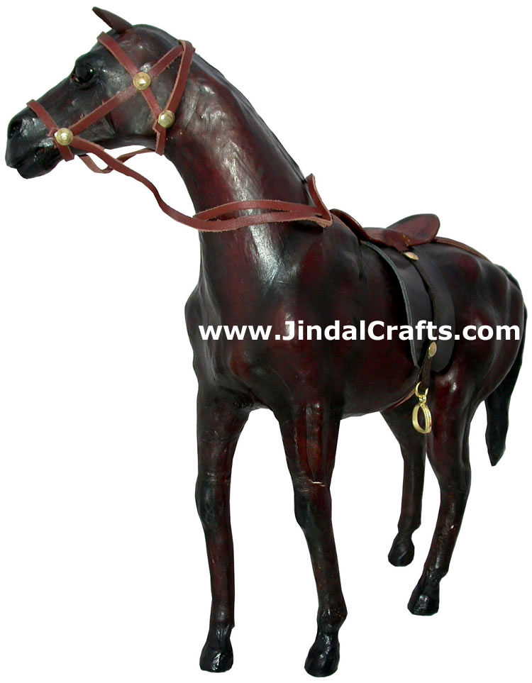 Horse - Handmade Stuffed Leather Animals Toys India Art