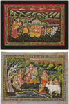 Pichwais are painted, printed with handblocks, woven, embroidered or decorated in appliqué. Pichwais are done in dark rich hues on rough hand spun cloth. These paintings have deep religious roots and are executed with the utmost devotion of the painters.