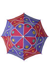 Colorful Applique Embroidery Cotton Sun Umbrella From Artisans Of India. A fine example of Applique art. Applique art is the process of cutting coloured cloth into shapes of animals, birds, flowers, leaves and other decorative motifs and stitching them on